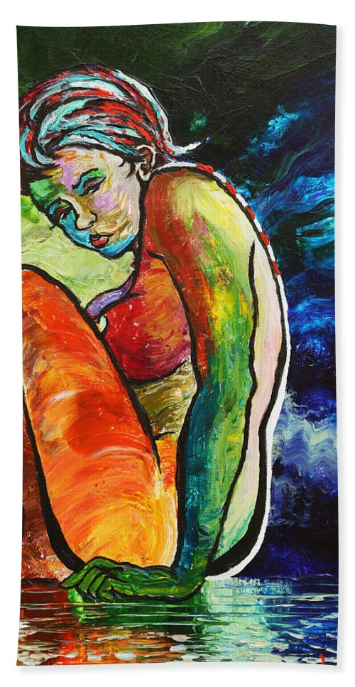 Nude Hand Towel featuring the painting Sarah by Les Lyden