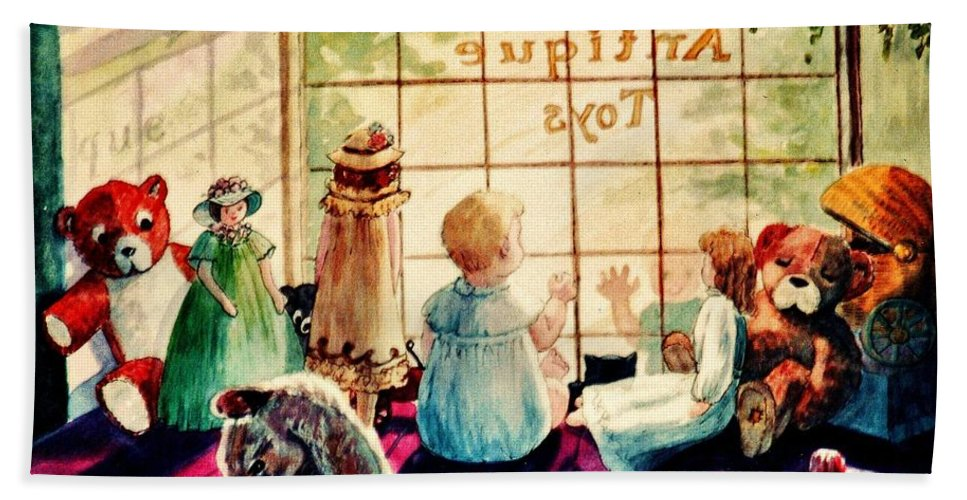 Antique Shop Hand Towel featuring the painting Sarah's Bear by Marilyn Smith