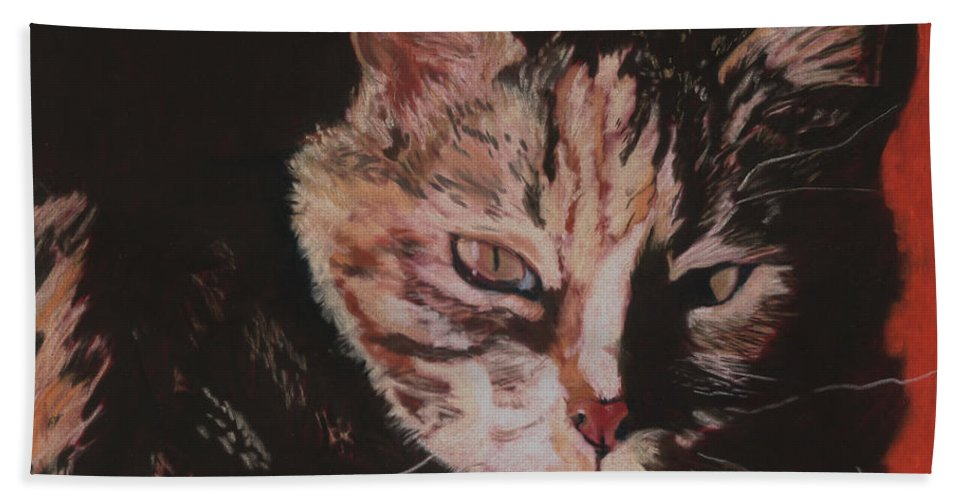 Pat Saunders-white Pet Portraits Hand Towel featuring the painting Sasha by Pat Saunders-White