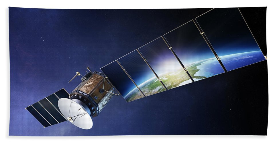 Satellite Bath Towel featuring the photograph Satellite Communications With Earth by Johan Swanepoel