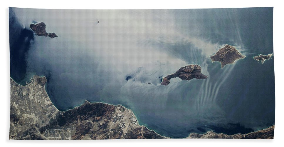 Photography Bath Sheet featuring the photograph Satellite View Of California Coastline by Panoramic Images