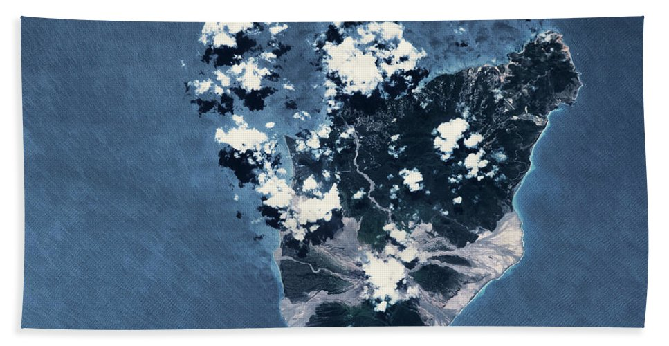Photography Bath Sheet featuring the photograph Satellite View Of Montserrat Island by Panoramic Images
