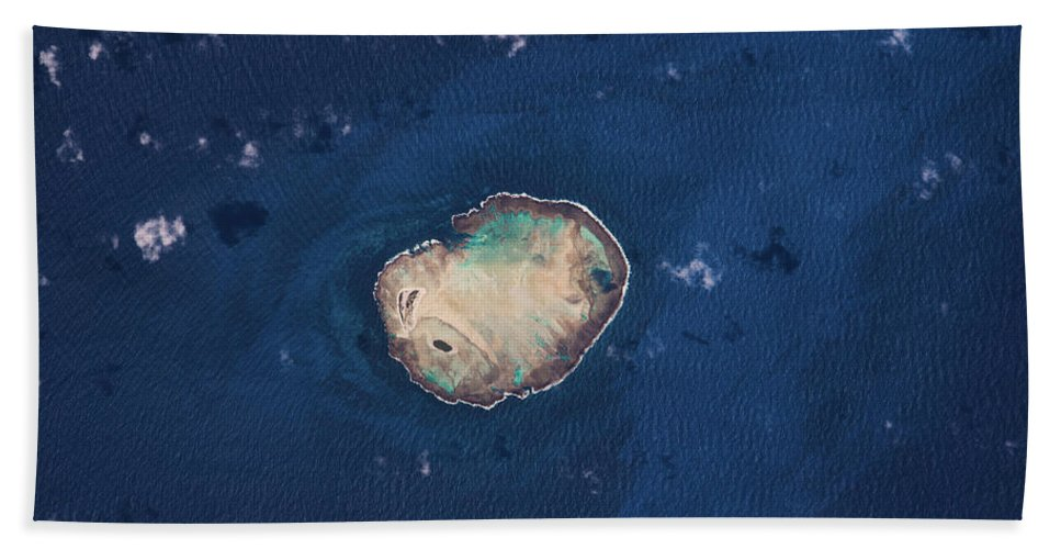 Photography Bath Sheet featuring the photograph Satellite View Of Rocas Atoll In South by Panoramic Images