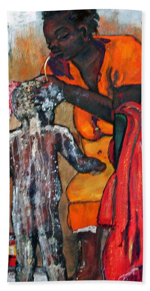 Mom Bathing Boy Bath Sheet featuring the painting Saturday Night Bath by Peggy Blood