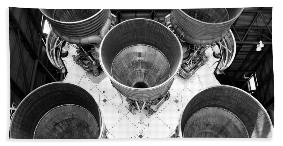 Saturn Five Rocket Hand Towel featuring the photograph Saturn Five Rocket Work B by David Lee Thompson