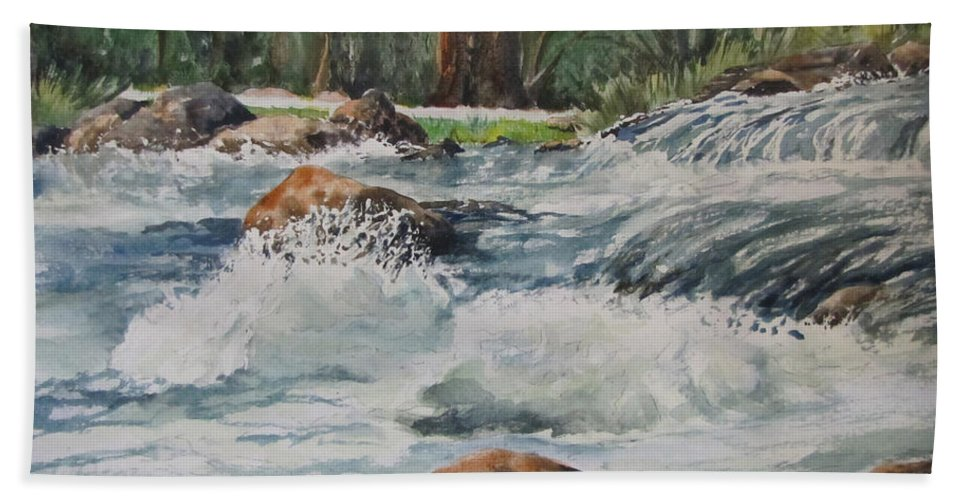 Waterfalls Hand Towel featuring the painting Sauble Falls by Bev Morgan