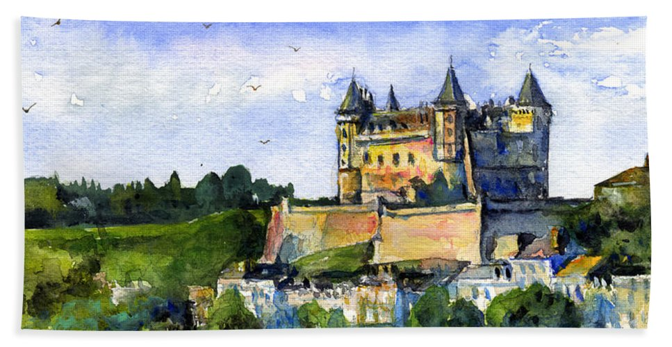 Loire Valley Hand Towel featuring the painting Saumur Chateau France by John D Benson