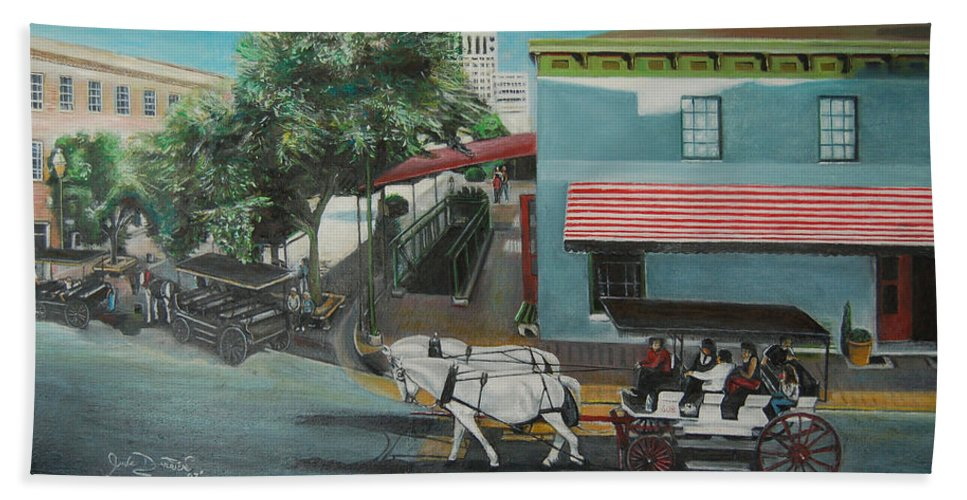 Bath Towel featuring the painting Savannah City Market by Jude Darrien