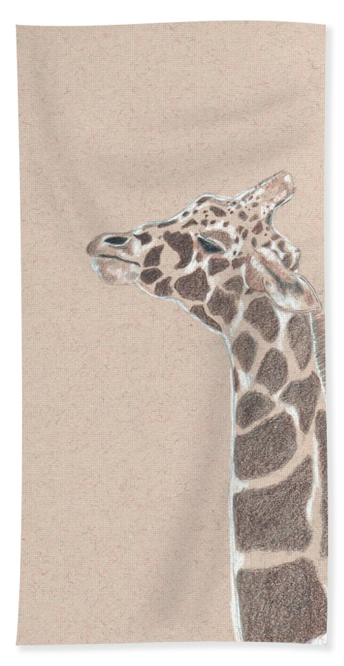 Giraffe Bath Sheet featuring the drawing Savannah by Crystal Hubbard