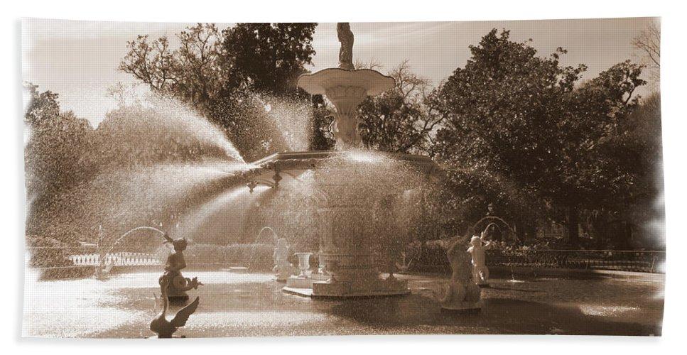 Savannah Fountain Bath Sheet featuring the photograph Savannah Fountain In Sepia by Carol Groenen