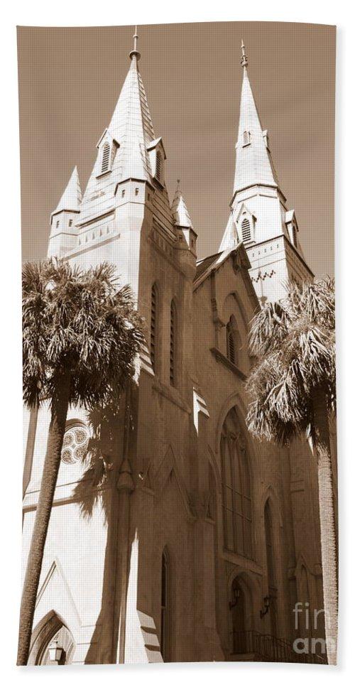 Savannah Hand Towel featuring the photograph Savannah Sepia - Methodist Church by Carol Groenen