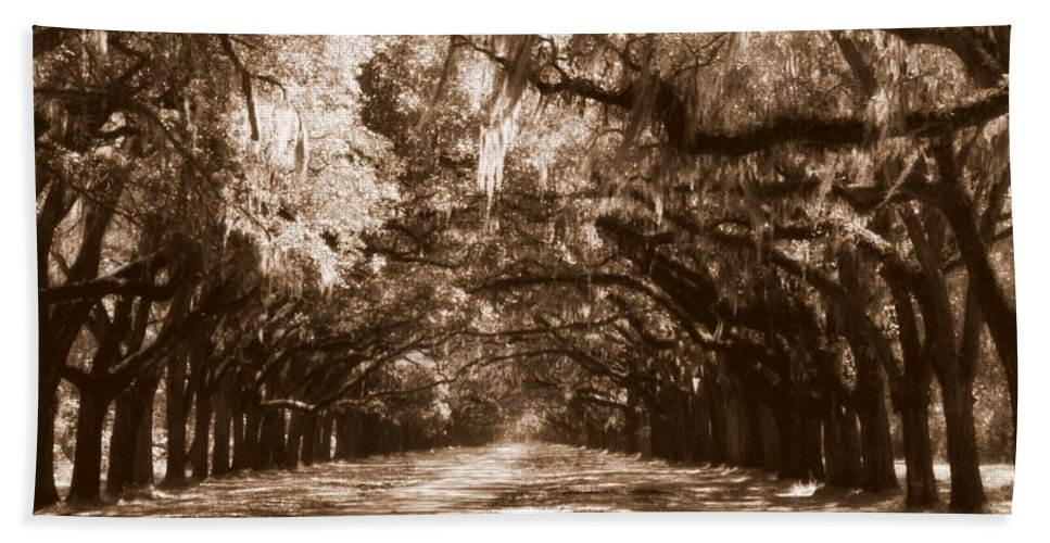 Savannah Hand Towel featuring the photograph Savannah Sepia - The Old South by Carol Groenen