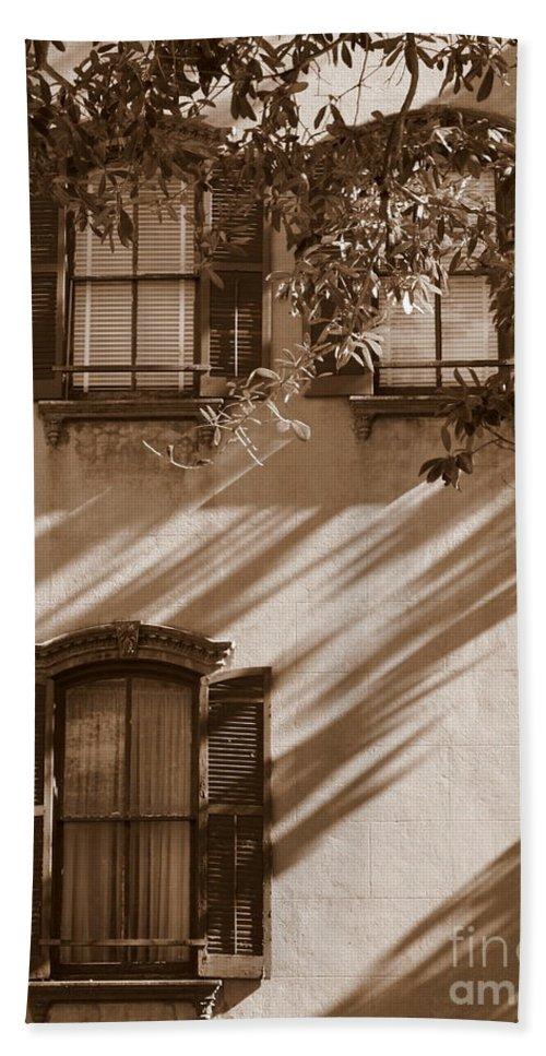 Savannah Hand Towel featuring the photograph Savannah Sepia - Windows by Carol Groenen