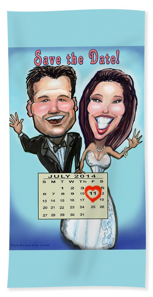 Wedding Bath Sheet featuring the digital art Save The Date by Kevin Middleton
