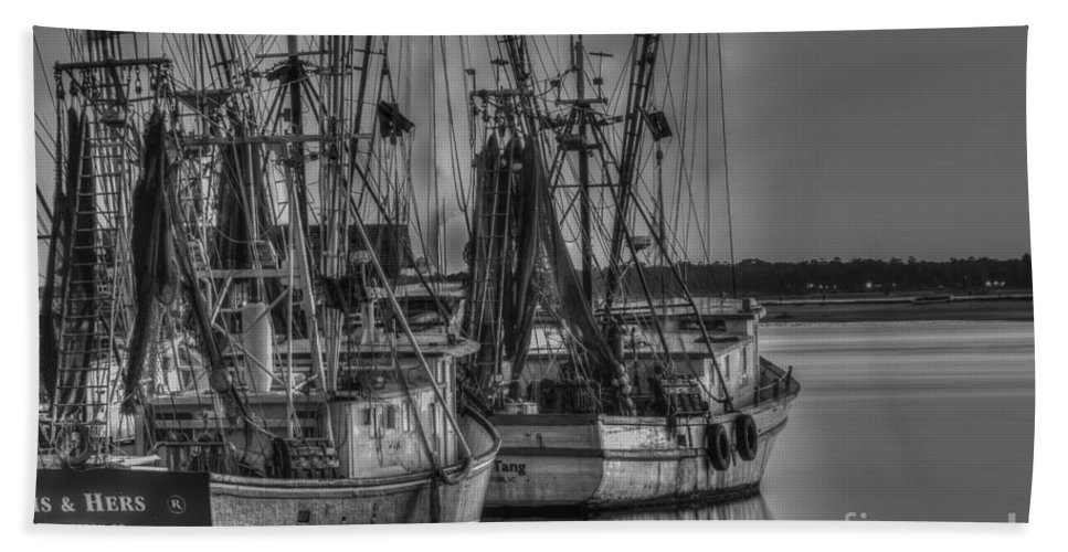 Sunset Hand Towel featuring the photograph Save The Lowcountry Shrimping by Dale Powell
