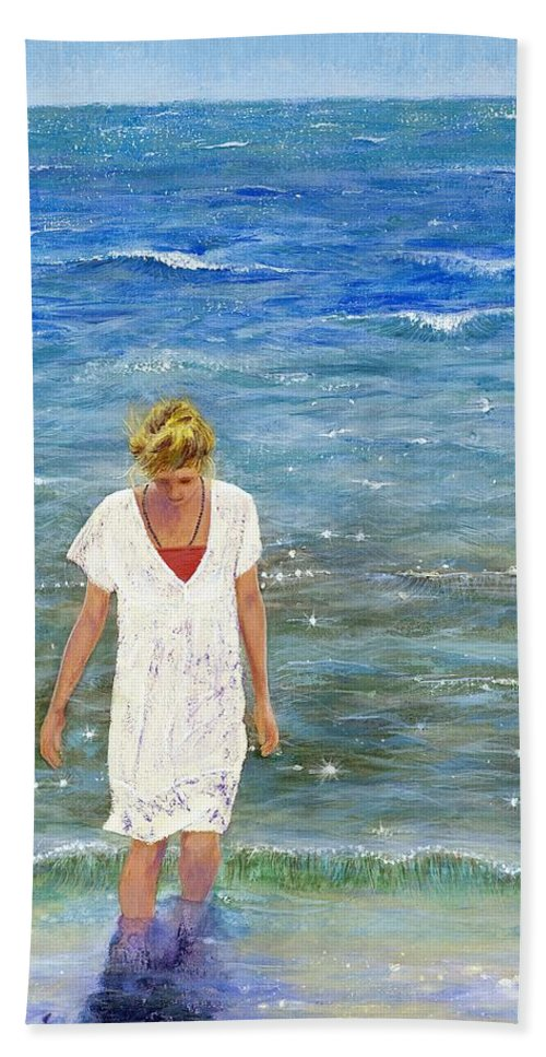 Seascape Bath Sheet featuring the painting Savoring The Sea by Margaret Bobb