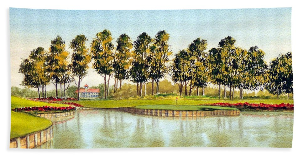 Sawgrass 17th Hole Hand Towel featuring the painting Sawgrass Tpc Golf Course 17th Hole by Bill Holkham