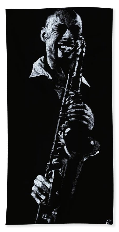 Musician Bath Sheet featuring the drawing Sax Player by Richard Young
