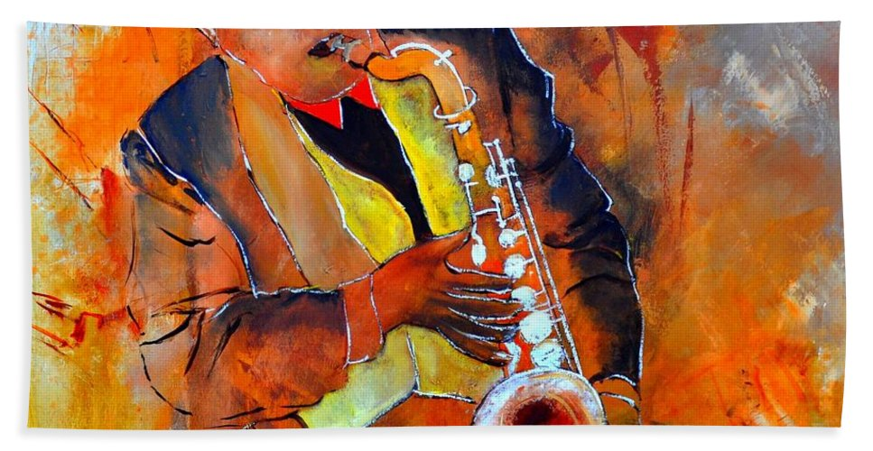 Sax Bath Sheet featuring the painting Saxplayer 88 by Pol Ledent