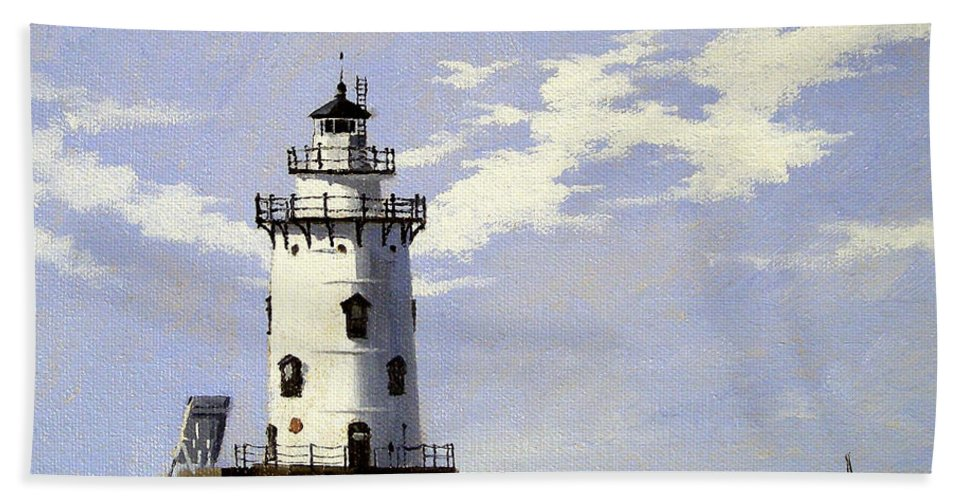 Christine Hopkins Hand Towel featuring the painting Saybrook Breakwater Lighthouse Old Saybrook Connecticut by Christine Hopkins