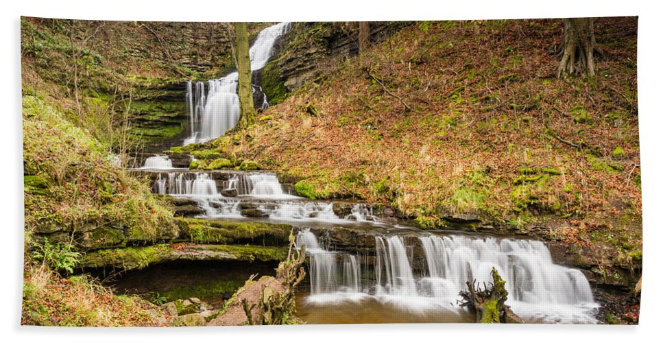 Autumn Hand Towel featuring the photograph Scaleber Force Waterfall by David Head