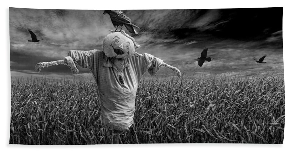 Scarecrow Bath Sheet featuring the photograph Scarecrow And Black Crows Over A Cornfield by Randall Nyhof