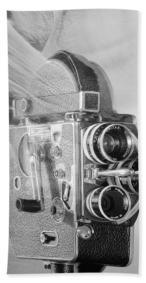 Old Camera Bath Sheet featuring the photograph Scarf Camera In Black And White by Rob Hans