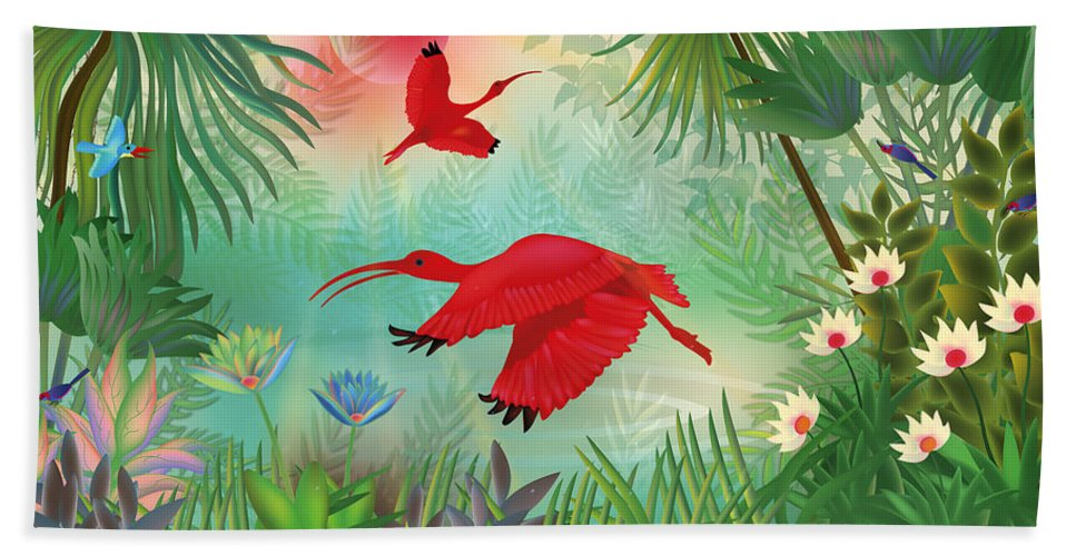Scarlet Corocoro Bath Sheet featuring the digital art Scarlet Corocoro - Limited Edition 1 Of 20 by Gabriela Delgado