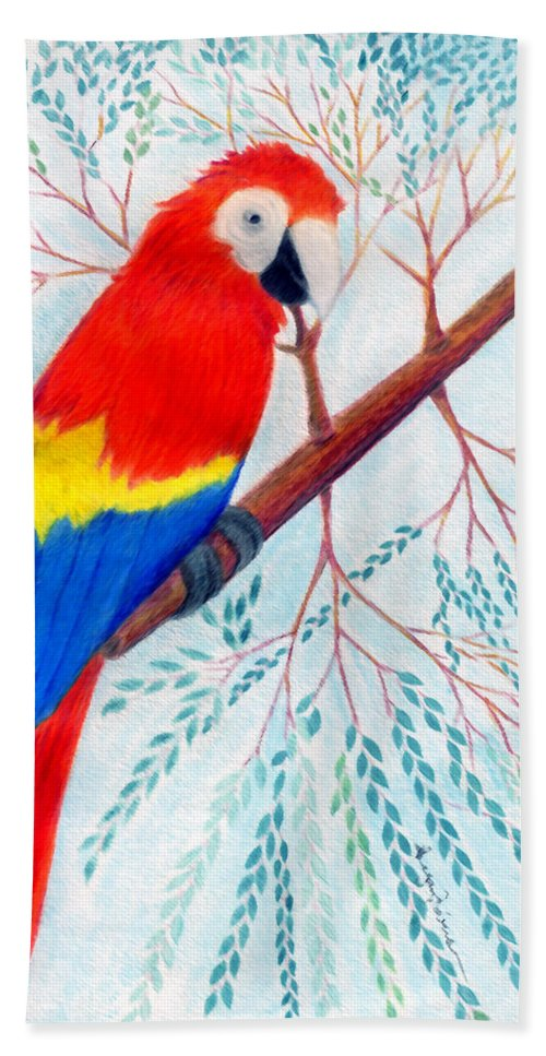 Birds Bath Sheet featuring the drawing Scarlet Macaw by Greg Roberson