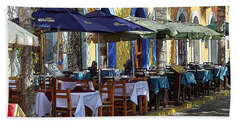 Mazatlan Bath Sheet featuring the photograph Scenes From Plaza Machado by Anne Mott