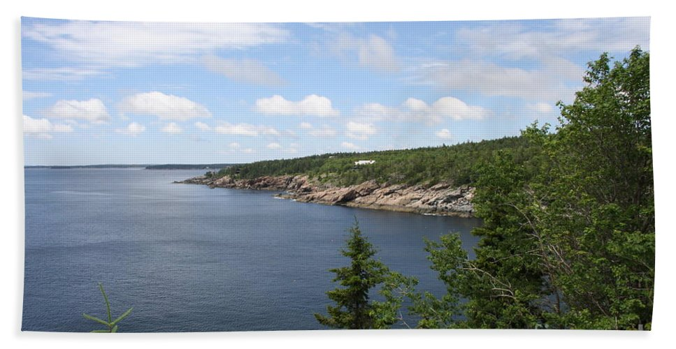 Sea Bath Sheet featuring the photograph Scenic Acadia Park View by Christiane Schulze Art And Photography