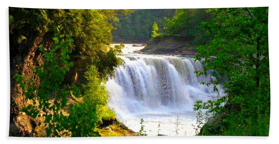 Falls Hand Towel featuring the photograph Scenic Falls by Rhonda Barrett