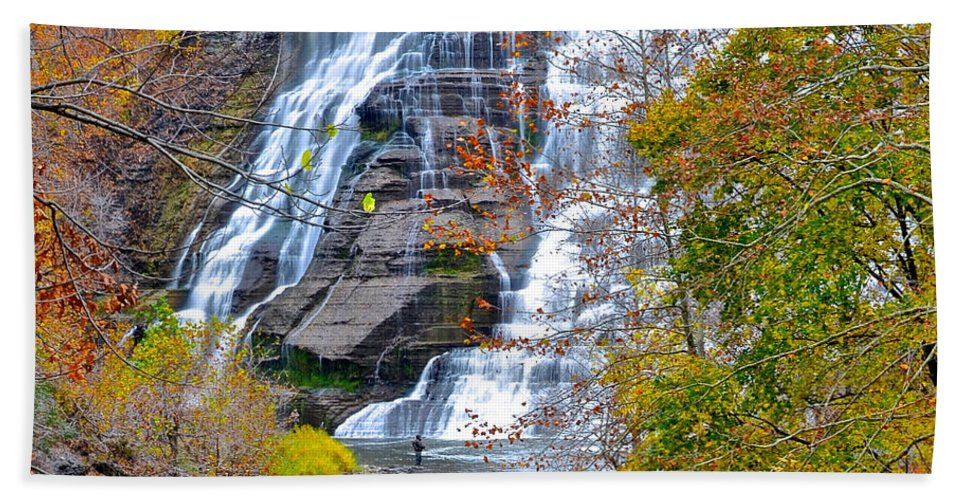 Fishing Bath Sheet featuring the photograph Scenic Vista by Frozen in Time Fine Art Photography