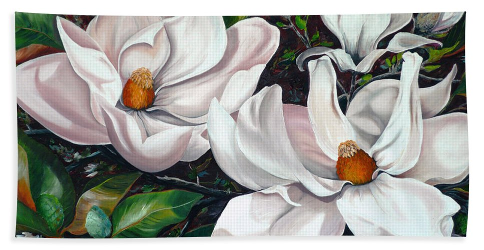 Magnolia Painting Flower Painting Botanical Painting Floral Painting Botanical Bloom Magnolia Flower White Flower Greeting Card Painting Hand Towel featuring the painting Scent Of The South. by Karin Dawn Kelshall- Best