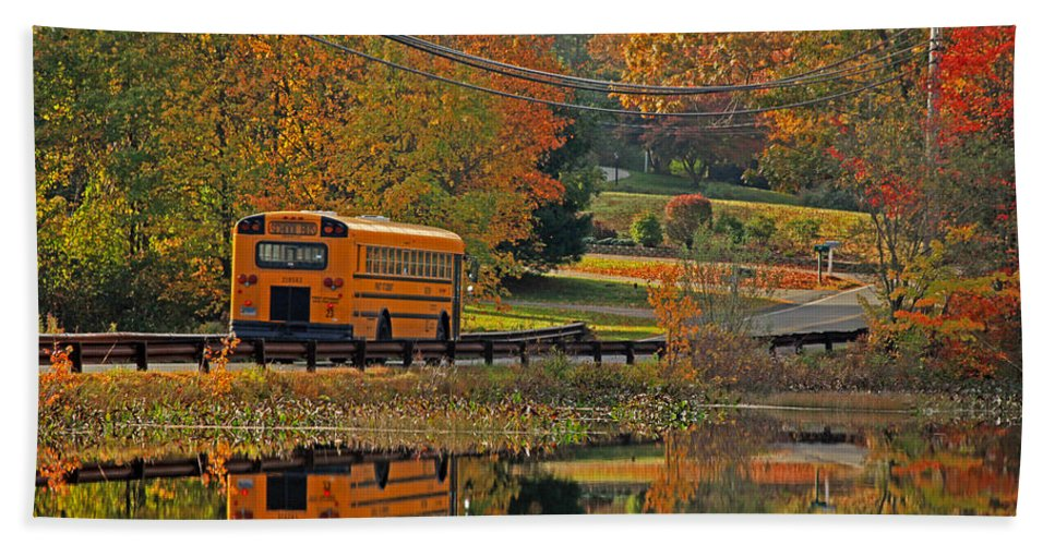 School Days Hand Towel featuring the photograph School Days Of Autumn by Karol Livote