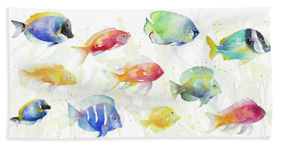 School Hand Towel featuring the painting School Of Tropical Fish by Lanie Loreth