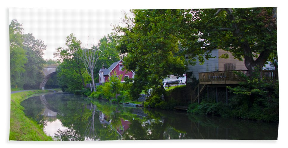 Schuylkill Bath Sheet featuring the photograph Schuylkill Canal Mont Clare by Bill Cannon