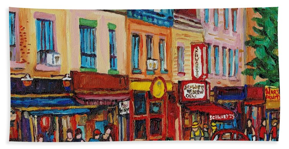 Schwartz Deli Bath Towel featuring the painting Schwartzs Deli And Warshaw Fruit Store Montreal Landmarks On St Lawrence Street by Carole Spandau