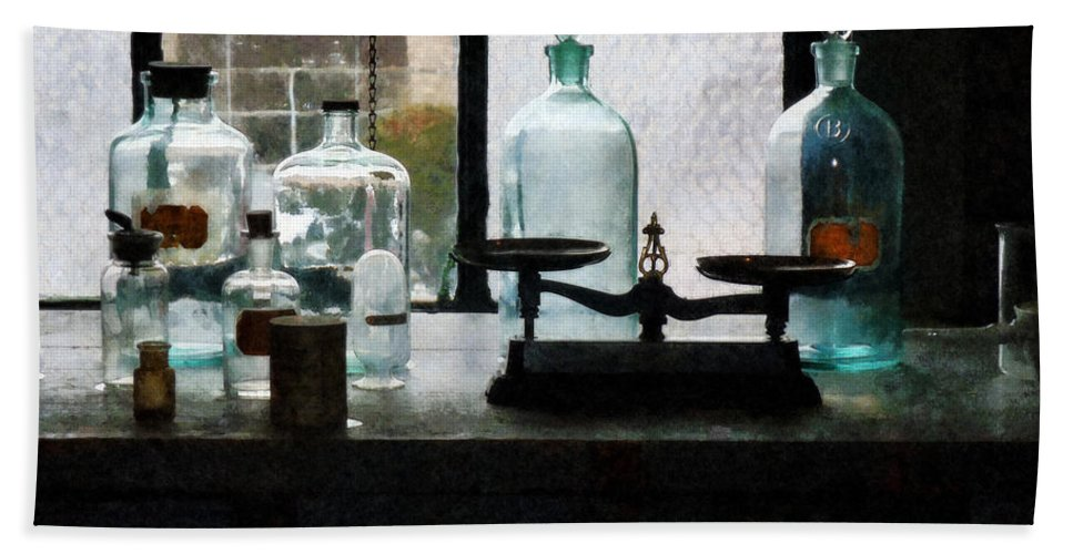 Science Bath Sheet featuring the photograph Science - Balance And Bottles In Chem Lab by Susan Savad