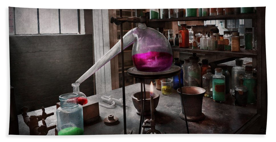 Medicine Bath Sheet featuring the photograph Science - Chemist - Chemistry For Medicine by Mike Savad