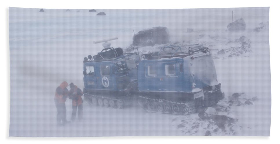 Adult Bath Sheet featuring the photograph Scientists Standing Next To A Hagglund by Thomas Pickard
