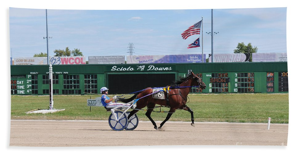 Harness Racing Hand Towel featuring the photograph D3w-206 Scioto Downs Photo by Ohio Stock Photography