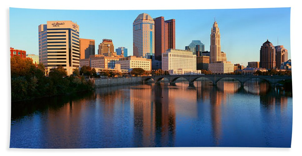 Photography Hand Towel featuring the photograph Scioto River And Columbus Ohio Skyline by Panoramic Images