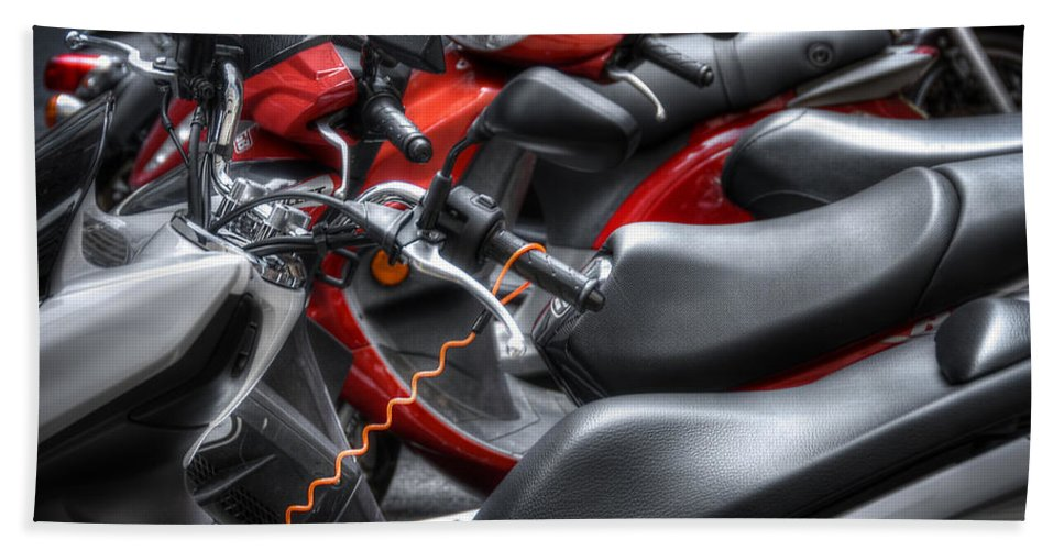 Scooters Bath Sheet featuring the photograph Scooter Brigade by Wayne Sherriff