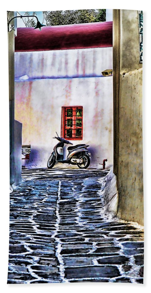 Greek Island Photo Bath Sheet featuring the photograph Scooter Mykonos Greece by Tom Prendergast