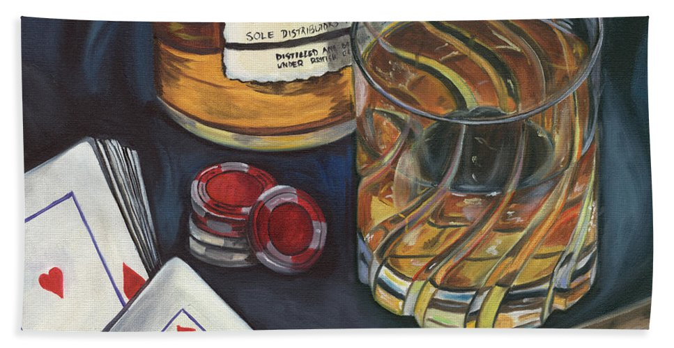 Scotch Hand Towel featuring the painting Scotch And Cigars 4 by Debbie DeWitt
