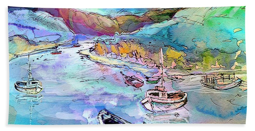Scotland Hand Towel featuring the painting Scotland 24 by Miki De Goodaboom