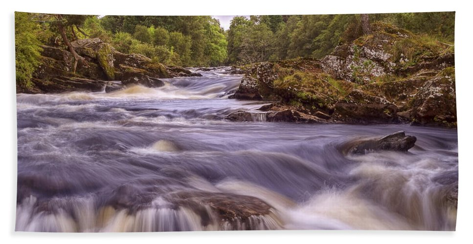 Falls Of Dochart Hand Towel featuring the photograph Scotland's Falls Of Dochart - Killin Scotland by Jason Politte