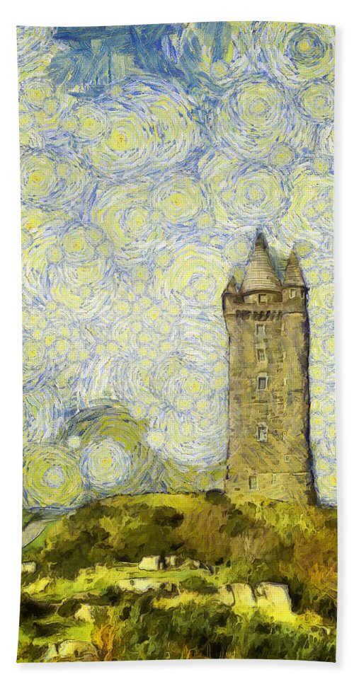 Scrabo Bath Sheet featuring the photograph Starry Scrabo Tower by Nigel R Bell