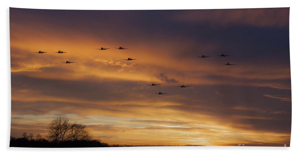 Supermarine Spitfire Hand Towel featuring the digital art Scramble Scramble by J Biggadike